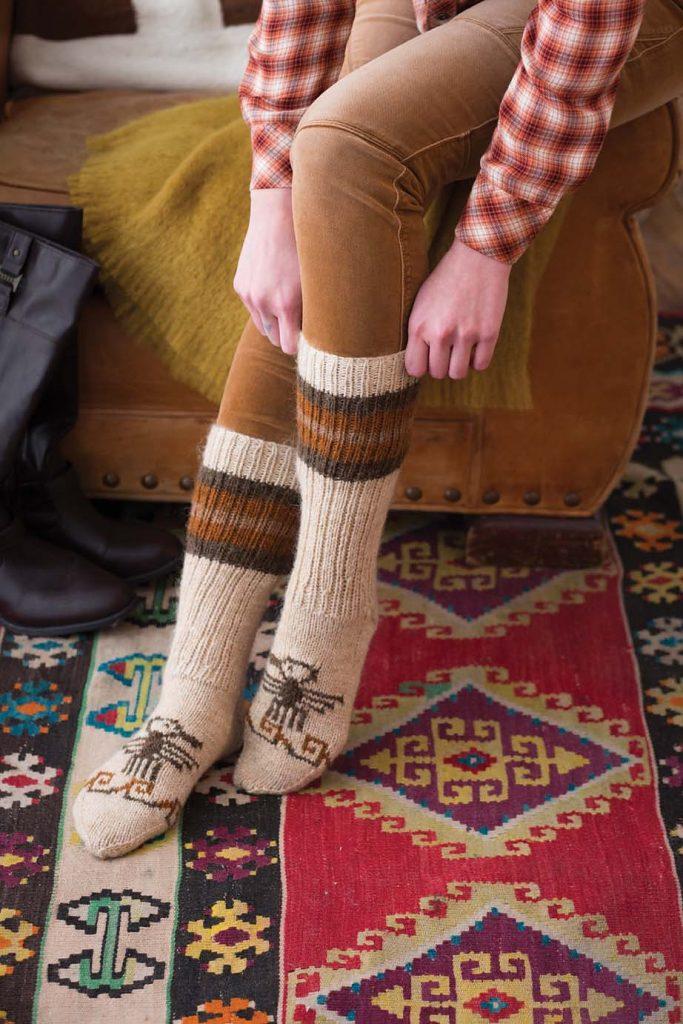 hand knit cowichan style socks