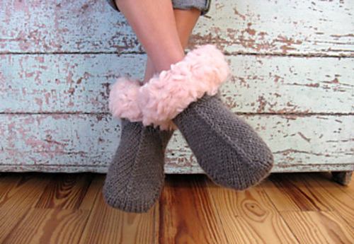hand knit boots with fluffy fleece lining