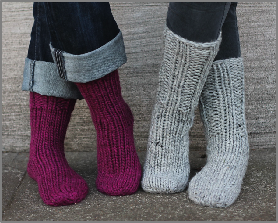 hand knit ribbed socks in purple and grey