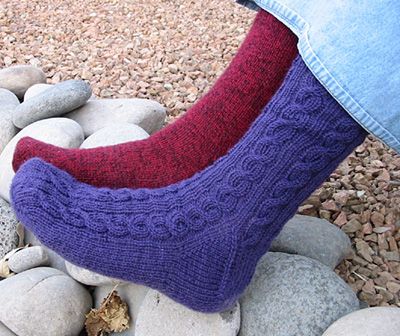 hand knit cabled socks